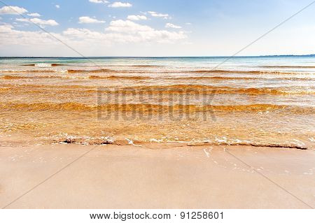 Soft Wave Of The Sea On The Sandy Beach. Blue Sky, Golden Sand And Place For Text. Varadero, Cuba.