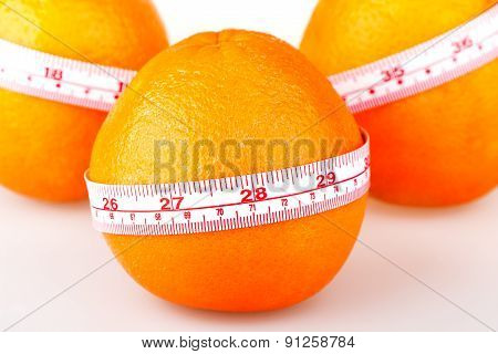 Three Oranges With Tailor's Ruler. Orange Diet. Fruit Healthy Vitamin Diet Helps To Lose Weight.