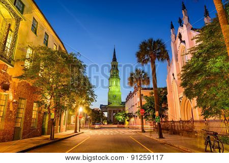 Charleston, South Carolina, USA on Church Street.