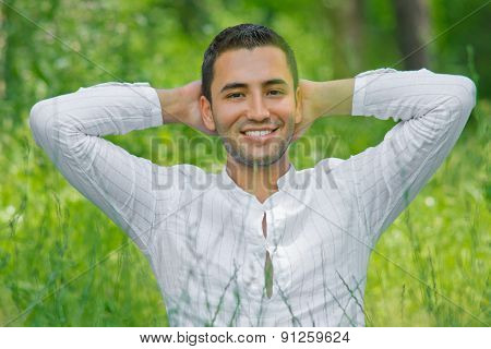 Portrait Of Relaxing Man In  A Summer Day-small Dof