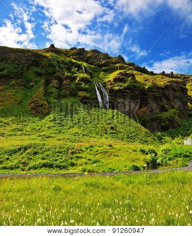 A warm summer day in Iceland. Picturesque flowering fields and streams in the vicinity of the falls Selyalandfoss
