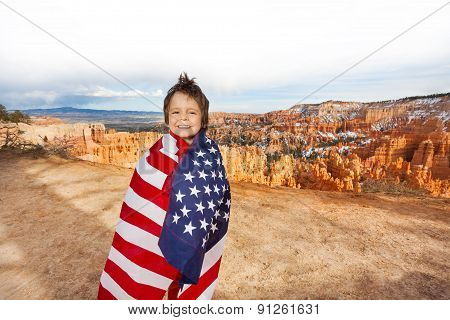 Bryce Canyon National Park, boy with American flag
