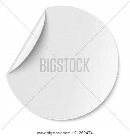 Vector Round Paper Sticker Placed On White
