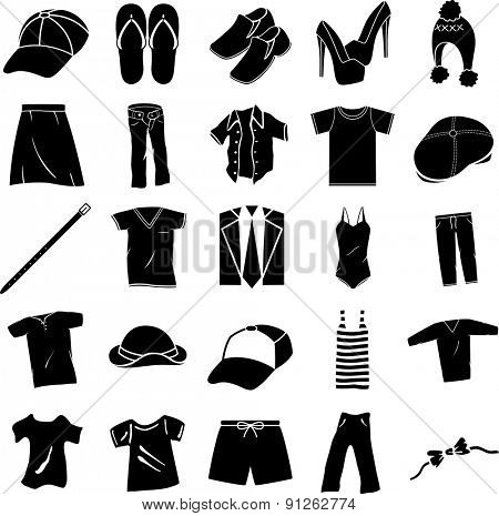 clothing shoes and accessories symbols set