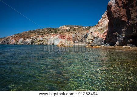 Unusual Vivid Colors Of Palepchori Beach, Milos, Greece