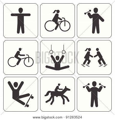 People sport icons set  black silhouette symbols, vector illustration