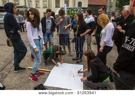 KRAKOW, POLAND - MAY 9, 2015: Unidentified participants of the March For Cannabis Liberation. Marijuana Marches held every year in the spring time all over the world, in more than 300 cities.