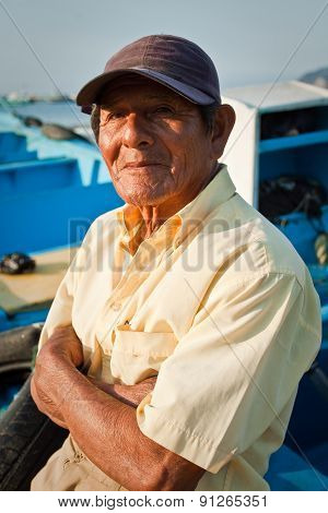Portrait of local man from Puerto Lopez, popular vacation spot in Ecuador
