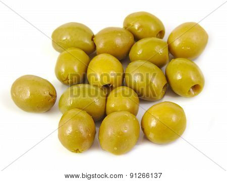 Olives filled with anchovy on white background. Typical spanish tapa