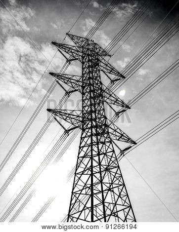 Electricity High Voltage Pole And Sky