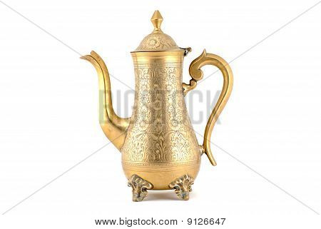 Ancient bronze jug, isolated on white background