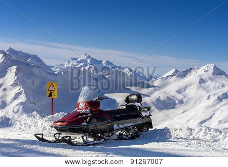 Snowmobile In The Mountains Elbrus