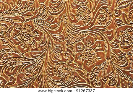 Leather Embossed with a Floral Design