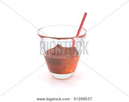 realistic whiskey with ice and a straw in a glass. 3D