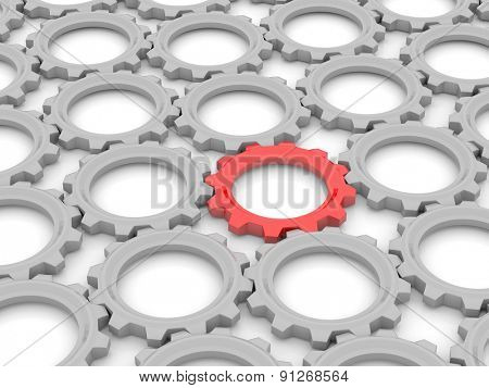 red gear among the gray on a white background. The concept of leadership in the team. 3d