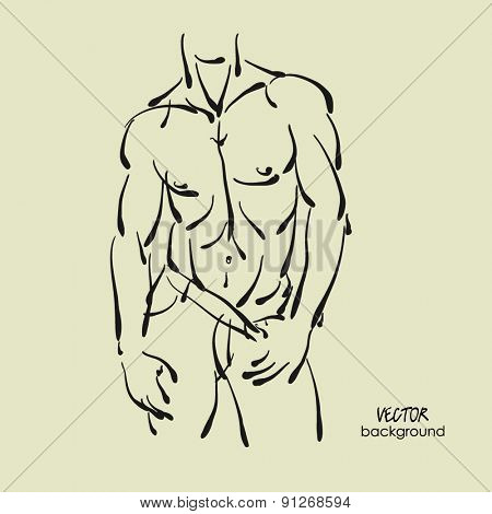 art sketched portrait of young sexy powerful muscular man in  jeans