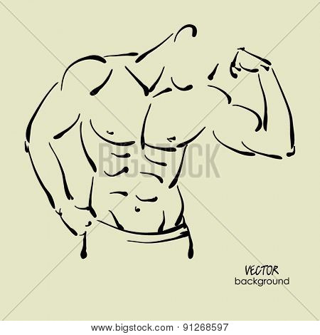 art sketched portrait of young sexy powerful muscular man in pose
