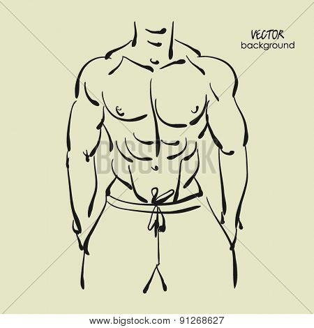 art sketched portrait of young sexy powerful muscular man