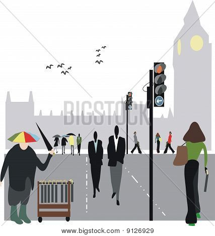 London umbrella illustration