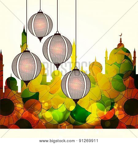 Illuminated Arabic lanterns with shiny floral design decorated creative mosque for Islamic holy month of prayer, Ramadan Kareem celebration.