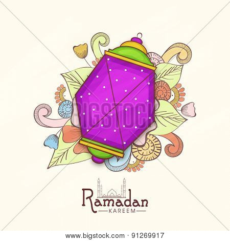 Colorful creative Arabic lamp or lantern on floral design for holy month of Muslim community, Ramadan Kareem celebration.