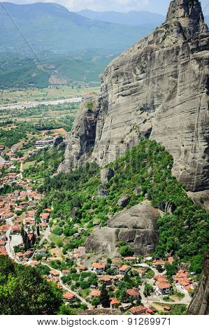 Kalambaka town bird view from the Meteora rocks, Greece
