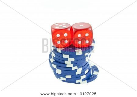 Blue Poker Chips And Red Dice Cubes