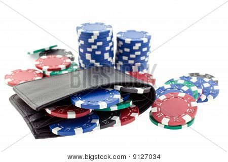Multicolor Poker Chips In Black Leather Wallet