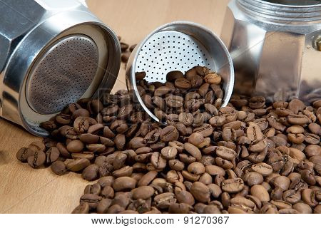 Classical Italian Coffee Maker Pot With Coffee Beans