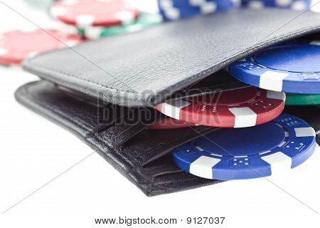 Multicolor Poker Chips In Black Leather Wallet Isolated