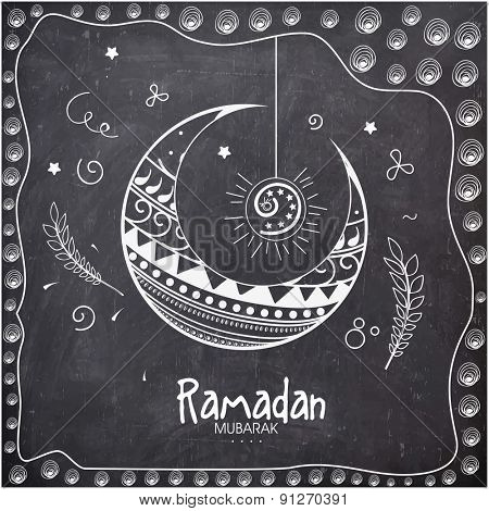 Elegant greeting card decorated with floral moon on chalkboard background for holy month of Muslim community, Ramadan Kareem celebration.
