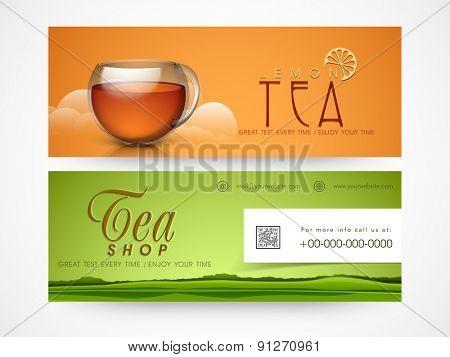 Tea shop banner or website header set.