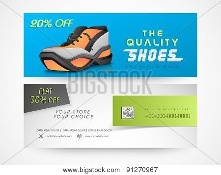 Creative stylish shoe sale website header or banner set with discount offer.