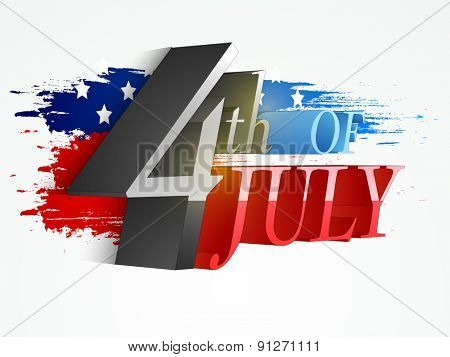 3D glossy text 4th of July on national flag color splash background for American Independence Day celebration.