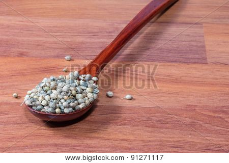 the Coriander seeds wooden spoon