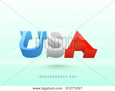 3D glossy text USA flying in cloudy sky background for 4th of July, American Independence Day celebration.