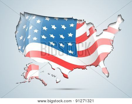 4th of July, American Independence Day celebration with illustration of USA map covered by flag.
