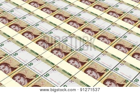 Argentina pesos bills stacks background.