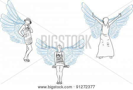 illustration with three angel sketches isolated on white background