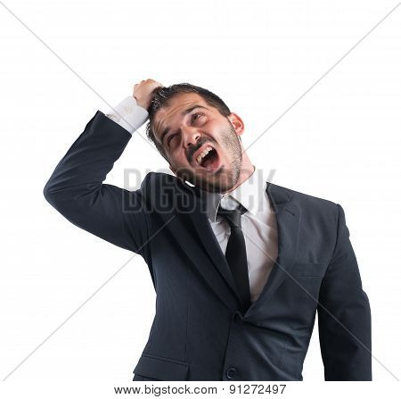 Crazy businessman screams