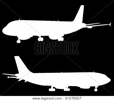 illustration with two airplanes silhouettes isolated on black background