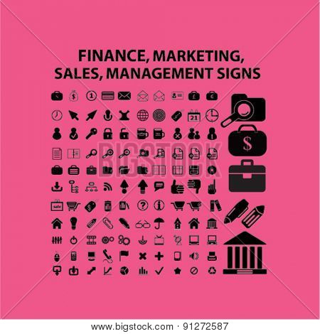 finance, marketing, sales, management icons set, vector