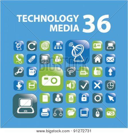 technology, media buttons set, vector