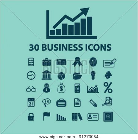 30 business icons set, vector