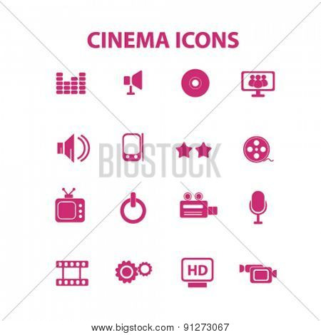 cinema icons set, vector