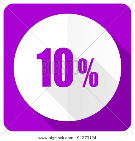 10 percent pink flat icon sale sign