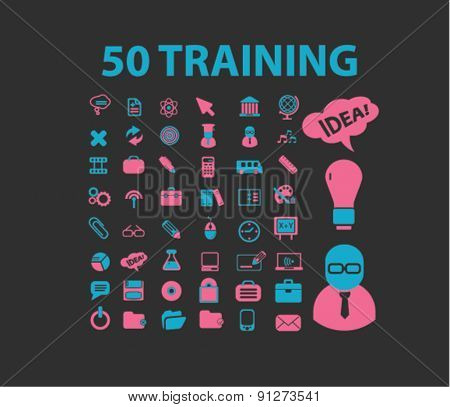 50 training icons set, vector