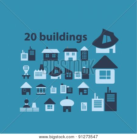 20 buildings icons set, vector