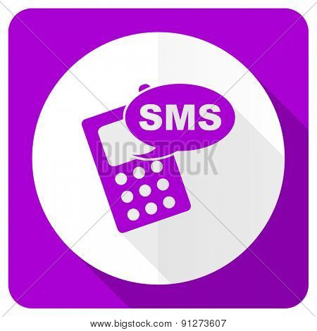 sms pink flat icon phone sign