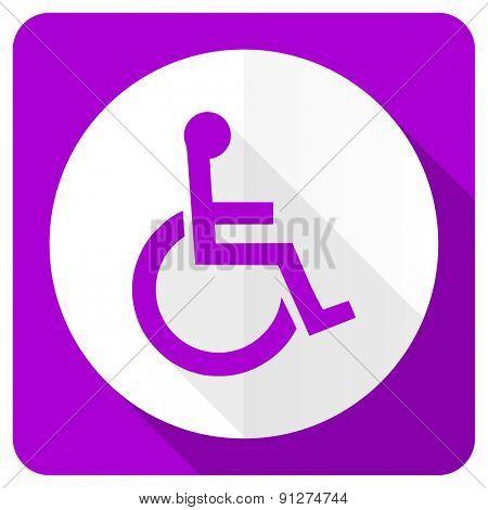 wheelchair pink flat icon